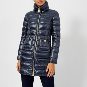 Herno Women's Maria Iconic Long Quilted Fitted Coat - Blue
