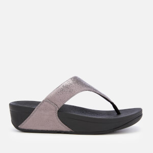 FitFlop Women's Lulu Molten Metal Toe Post Sandals - Pewter
