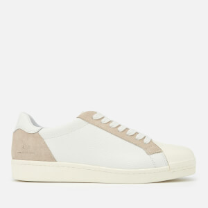 Armani Exchange Men's Tumbled Leather Cupsole Trainers - White