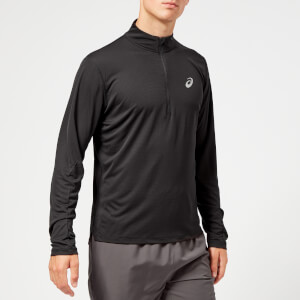 Asics Men's Silver Long Sleeve 1/2 Zip Top - Performance Black