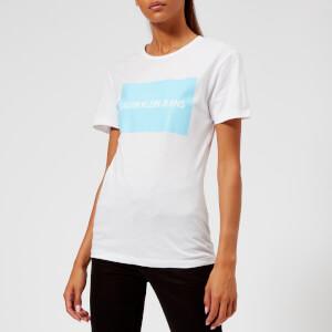 Calvin Klein Jeans Women's Institutional Box Logo T-Shirt - Bright White/Sky Blue