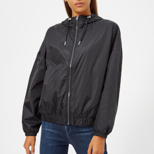 Calvin Klein Jeans Women's Hooded Zip Up Windbreaker Jacket - CK Black
