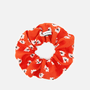 Ganni Women's Silvery Crepe Scrunchie - Big Apple Red