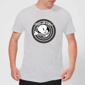 Looney Tunes That's All Folks Porky Pig Men's T-Shirt - Grey