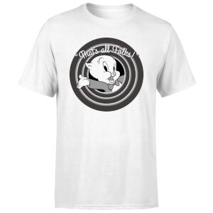 Looney Tunes That's All Folks Porky Pig Men's T-Shirt - White
