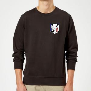 Looney Tunes Pepe Le Pew Face Faux Pocket Sweatshirt - Black