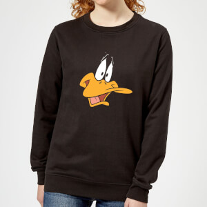 Looney Tunes Daffy Duck Face Women's Sweatshirt - Black