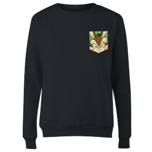 Looney Tunes Wile E Coyote Face Faux Pocket Women's Sweatshirt - Black