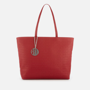 Armani Exchange Women's All Over Logo Embossed Zip Tote Bag - Red