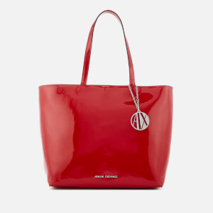 Armani Exchange Women's Patent Logo Tote Bag - Red
