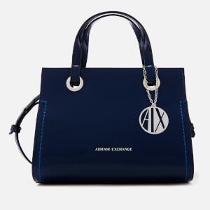 Armani Exchange Women's Patent Logo Small Tote Bag - Blue
