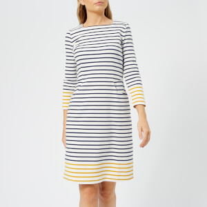 Joules Women's Yvonne Square Neck Interlock Jersey Dress - Cream Gold Stripe