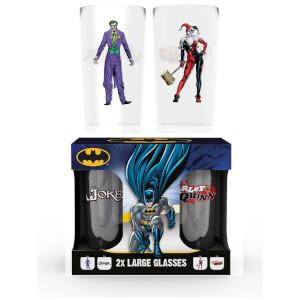 Batman Comic Joker and Harley Quinn Large Glass Twin Pack