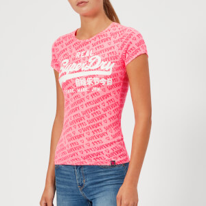 Superdry Women's Vintage Logo Aop Burnout Entry T-Shirt - Fluro Pink