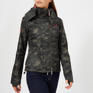 Superdry Women's SD Print Arc Hood Pop Zip Windcheater Coat - Star Camo/Hot Pink