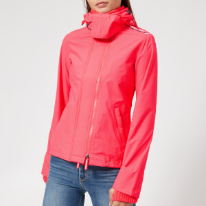 Superdry Women's SD Tech Hood Pop Zip Windcheater Coat - Fluro Berry/Summer Navy