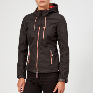 Superdry Women's SD Hooded Windtrekker Coat - Black/Coral Blush