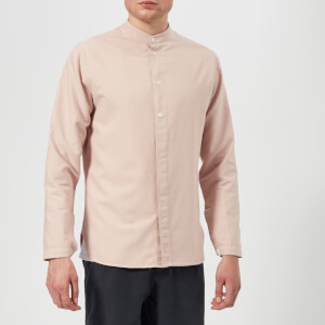 Folk Men's Half Placket Grandad Shirt - Plaser Pink