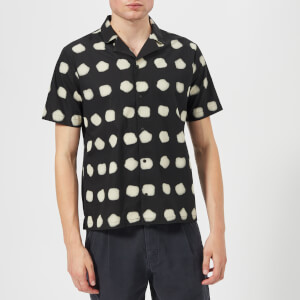 Folk Men's Short Sleeve Soft Collar Shirt - Black Dot Print