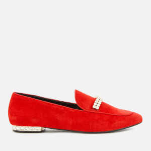 Dune Women's Gara Suede Jewelled Heel Loafers - Red