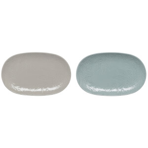 Denby Monsoon Gather Set Of 2 Small Platters - Grey/Green