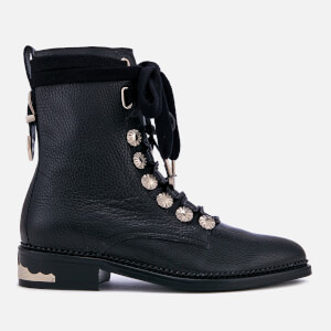 Toga Pulla Women's Grainy Leather Lace-Up Flat Boots - Black