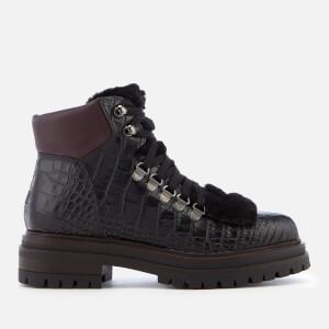Kurt Geiger London Women's Regent Leather Hiker Style Boots - Black