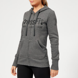 Reebok Women's Crossfit Full Zip Hoody - Dark Grey Heather
