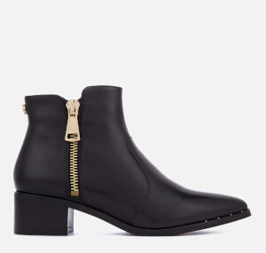 Steve Madden Women's Dylles Leather Heeled Ankle Boots - Black