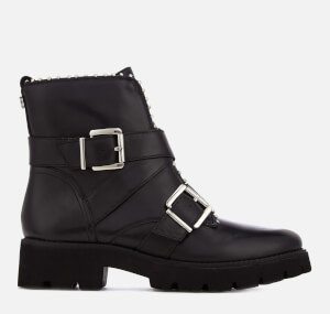 Steve Madden Women's Hoofy Leather Biker Boots - Black