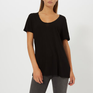T by Alexander Wang Women's Drapey Jersey T-Shirt with T Darting Detail - Black