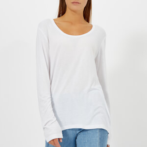 T by Alexander Wang Women's Drapey Jersey Long Sleeve T-Shirt with Darting Detail - Off White
