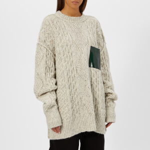 MM6 Maison Margiela Women's Gauge Oversized Cable Knitted Jumper with Pocket - White