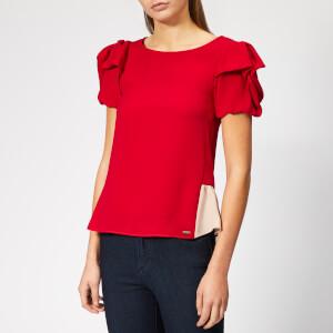 Armani Exchange Women's Short Ruffle Sleeve Blouse - Bloody Mary