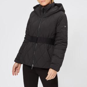 Armani Exchange Women's Short Quilted Hooded Coat - Black