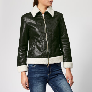 Armani Exchange Women's Eco Sherpa Bonded Jacket - Black