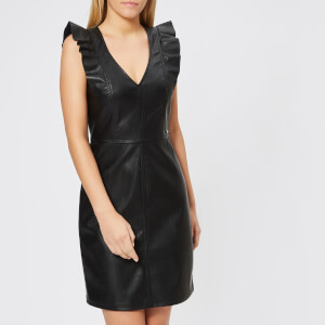 Armani Exchange Women's Stretch Echo Leather Look Dress - Black