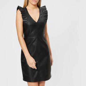 Armani Exchange Women's Stretch Echo Leather Look Dress - Black