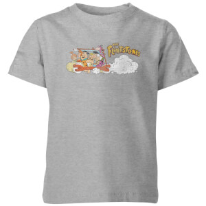 The Flintstones Family Car Distressed Kinder T-shirt - Grijs