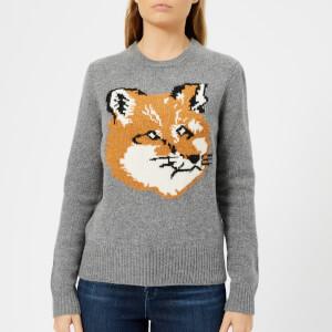 Maison Kitsuné Women's Fox Head Pullover - Grey Melange