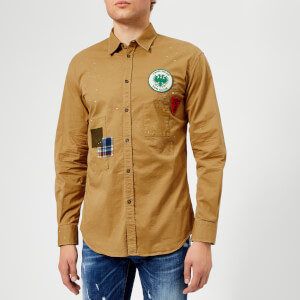 Dsquared2 Men's Stretch Cotton Twill Relaxed Fit Shirt - Camel