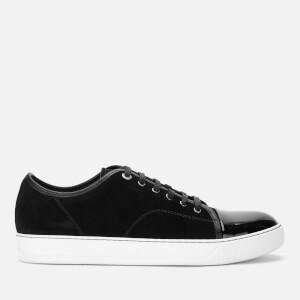 Lanvin Men's Suede And Patent Captoe Low Top Sneakers - Black