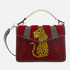 Les Petits Joueurs Women's Mini Pixie Cheetah Flower Bag - Red