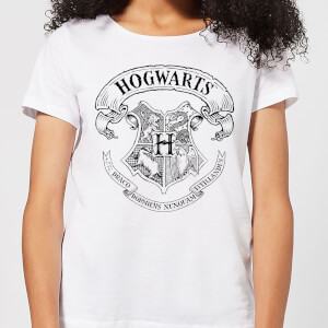 T-Shirt Harry Potter Hogwarts Crest - Bianco - Donna