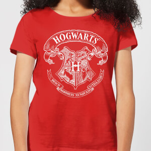 Harry Potter Hogwarts Crest Dames T-shirt - Rood