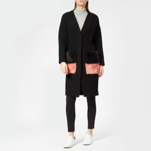 Anne Vest Women's Brisbane Straight Back Cardigan - Black with Black/Pink Pockets