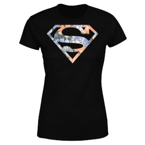 DC Originals Floral Superman Damen T-Shirt - Schwarz