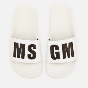 MSGM Women's Logo Slide Sandals - White/Black