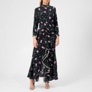 RIXO London Women's Gabriele High Neck Ruffle Dress - Purple Spot Tulip