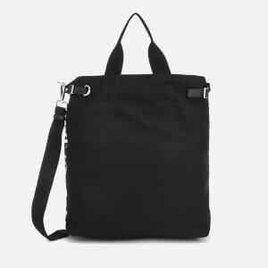 Neil Barrett Men's Market Bag - Stencil Logo Printed Nylon - Black/White